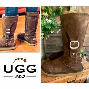 UGG Brown Suede Cargo Zipper Tall Calf Boots
